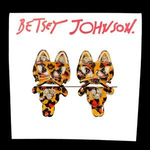 Betsey Johnson Leopard Print Cat Jacket Earrings